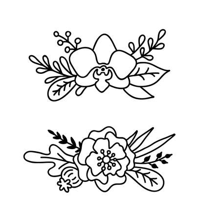 Engraving flower bouquets in an outline style isolated on white background. Vector illustration with poppy, orchid, leaf, branch. Flowers arrangement. Illusztráció
