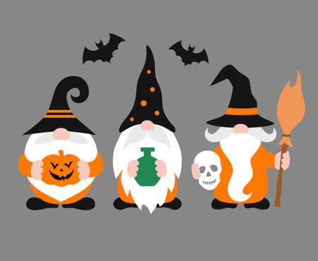 Gnomes isolated. Cheerful Halloween gnome with hat and beard. Holiday poster.