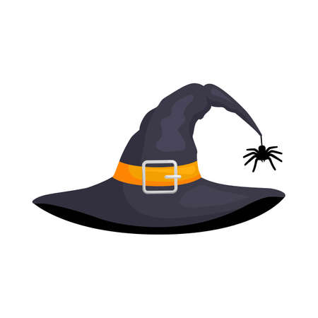 Halloween hat isolated on white background. Black wizard cap. Illustration on the theme of witchcraft, magic, witches.