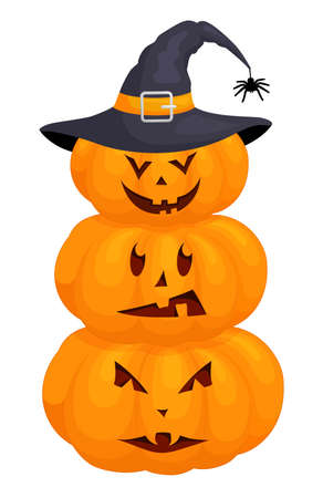 Halloween pumpkins with scary face in hat. Jack-o-lantern isolated on white background.
