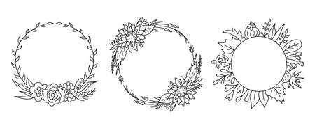 Floral monogram frame. Vector flower wreath, outline hand drawn wild flowers.