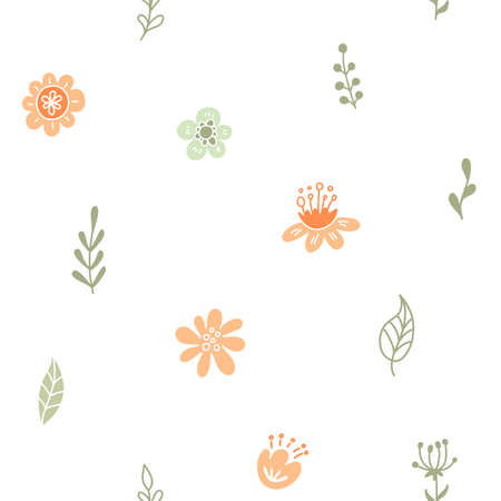 Floral seamless pattern. Baby spring background with pastel flowers and leaves.