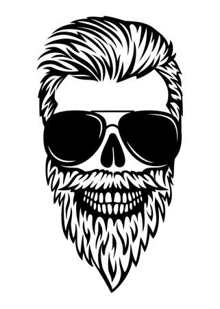 Man skull vector boho print. Dad life. Male skull with beard and sunglasses. Illusztráció