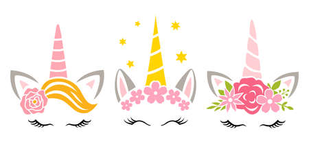 Set of unicorns with flower. Kids vector illustration. Floral unicorn faces. Print for girl. Illusztráció