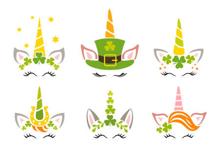 Unicorn faces with shamrock for kids. Set of cute animals for st patricks day. lucky irish unicorns