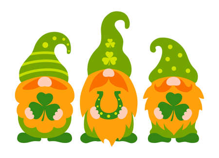 St patrick gnome vector. Cute irish gnomes with clover leaf cartoon style. Greeting St patricks day card.