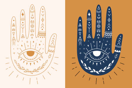 Mystic hand with eye, moon and ethnic patterns. Vector boho palm. Esoteric and magic symbol. Illusztráció