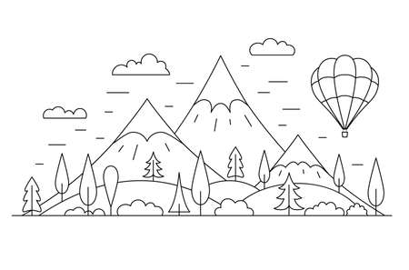 Nature outline panorama with mountains. Vector linear landscape concept. Illusztráció
