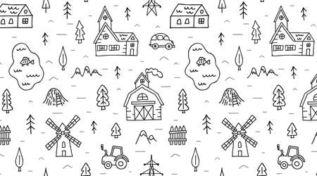 Hand drawn farm seamless pattern. Outline harvest, nature, agriculture, rurual background.