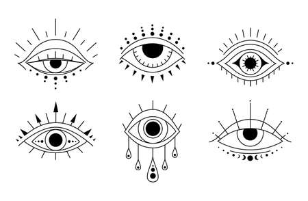 Magic evil eyes. Boho style outline vector illustration.