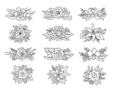 Set of flower composition. Vector Flowers arrangement. bouquets in outline style.