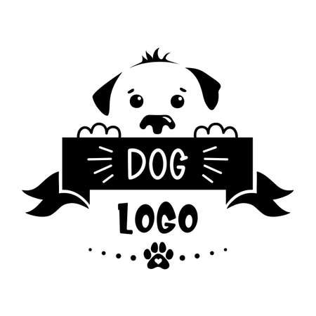 Dog face silhouette with plate and place for text. Vector dog logo. Puppy name tag. Illusztráció
