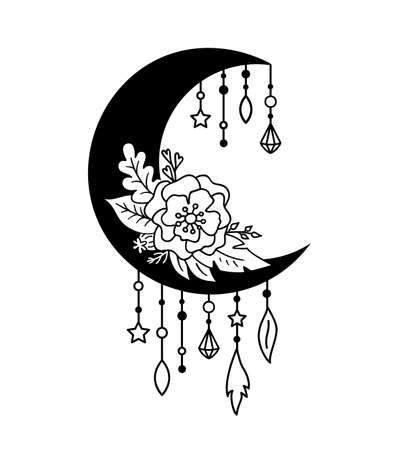 Crescent moon floral design in boho style. Vector illustration