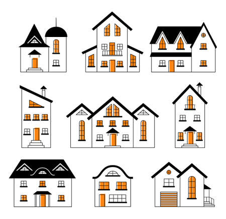 Set of outline buildings and houses. City design elements. Construction theme. Illusztráció