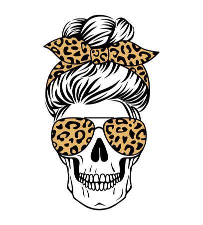 Mom skull vector leopard print. Female skull silhouette.