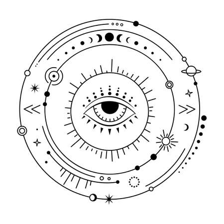 Celestial design elements. Vector magic universe with evil eye. Boho solar system.
