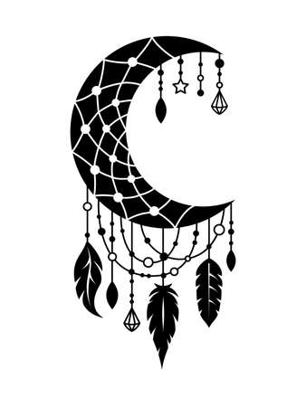 Vector moon dream catcher. Boho illustration. Dreamcatcher in tribal style. Illusztráció