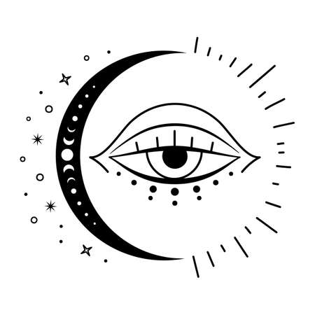 Boho Mystical moon and evil eye. Vector Magic symbol. celestial design elements.