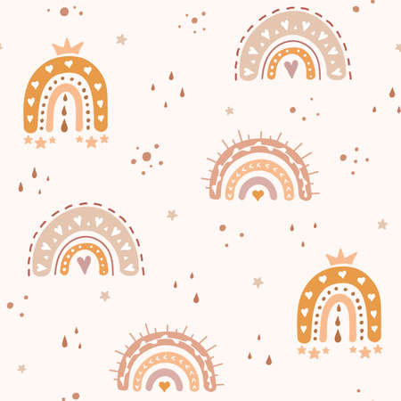 Rainbow seamless pattern for kids. Vector baby wallpaper. Abstract scandinavian background. Pastel colors.