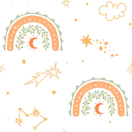 Seamless pattern for kids with stars, constellations, comet, moon and rainbow. Celestial baby print.
