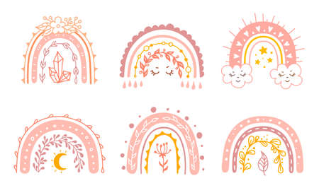 Set of vector rainbows isolated on white. Baby girl print. Cute baby illustration.