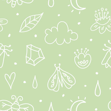 Abstract baby seamless pattern with nature elements. Kids spring background.