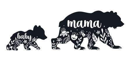 Mom bear with a baby bear. Vector silhouettes isolated on white background. Mothers day illustration.