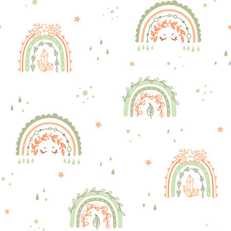 Rainbow Seamless pattern for kids with flowers and leaves.