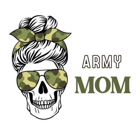 Army mom skull vector camo print. Mom life. Female skull with messy bun.