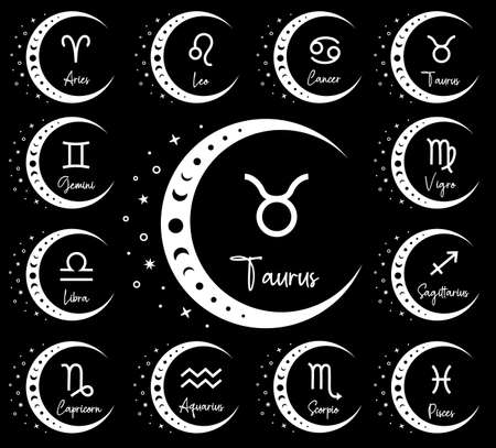 Vector silhouette design of zodiac symbols. Boho astrological design. Horoscope symbols.