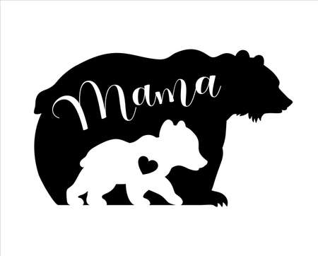 Vector silhouettes of mama and baby bear isolated on white background. Mothers day illustration. Animals and cub. Illusztráció