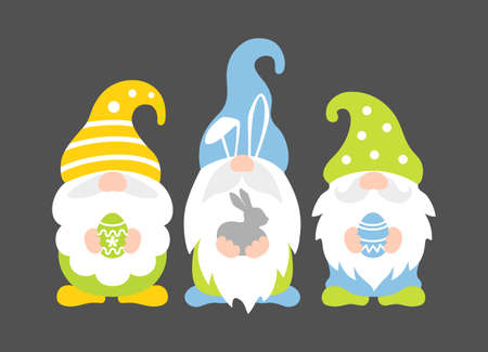 Easter gnomes holding bunny and eggs. Vector. Stock Illustratie
