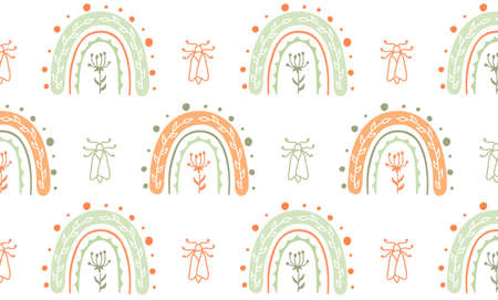Baby seamless pattern with flower ,rainbows and leaves. Vector abstract background for kids.