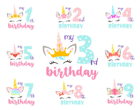 Set of unicorns with numbers. Girly birthday design. Vector. Illusztráció