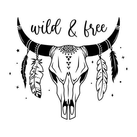 Tribal indian symbol. Vector silhouette of cow skull with feathers. Boho design.