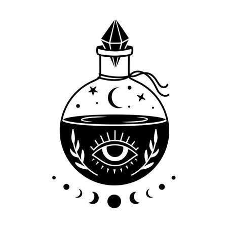 Vector silhouette. Mystical alchemical symbol. Magic drink. Boho illustration