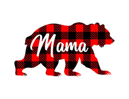 Bear silhouette with buffalo plaid pattern and the inscription mama. Mothers day vector illustration.