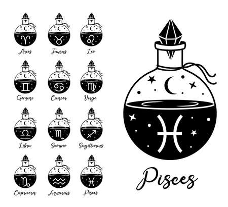 Astrological zodiac symbols. Set of vector zodiac signs design. Illusztráció