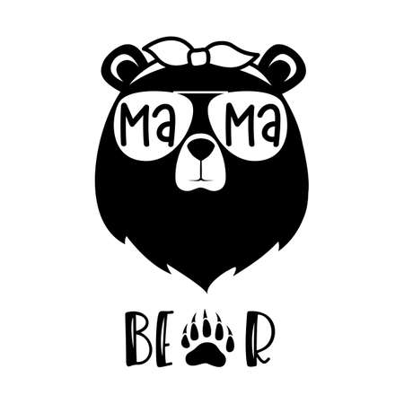 Bear head with glasses and a bandana with the inscription mama bear. Vector silhouette of a cute animal.