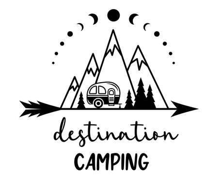 Camping illustration with quote. Adventure concept. Capmer, mountains and forest silhouettes