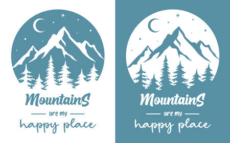 Monochrome silhouette of mountains with quote. Vector badge, sign, icon or emblem for love camping, travel and adventure Illusztráció