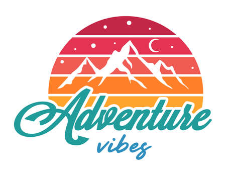 Vintage adventure vector illustration with mountains and quote. Travel or camping emblem. Vintage badge. Reklamní fotografie - 167201082