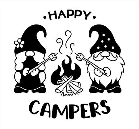Camping gnomes. Vector silhouettes of gnomes at the campfire. Happy campers quote.