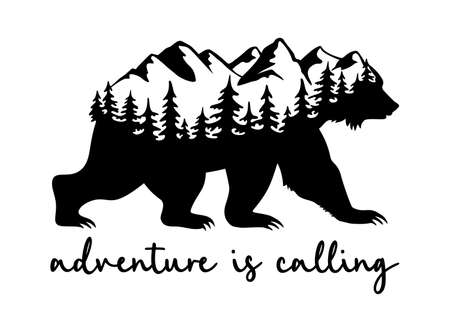 Adventure concept. Travel and nature illustration with bear, mountains and trees silhouette. Illusztráció