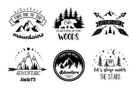 Set of travel and adventure designs with quote. Vector monochrome emblems signs and labels on the topic of camping, outdoor recreation. Illusztráció