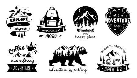 Set of adventure emblem designs. Vector travel quote. Explore sign label. Vector.
