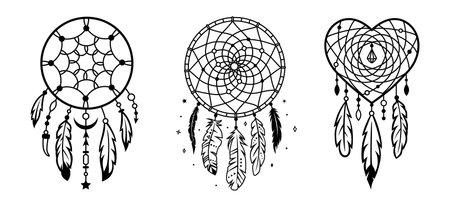 Dreamcatcher set. Silhouette of native american symbol. Tribal indian design elements.