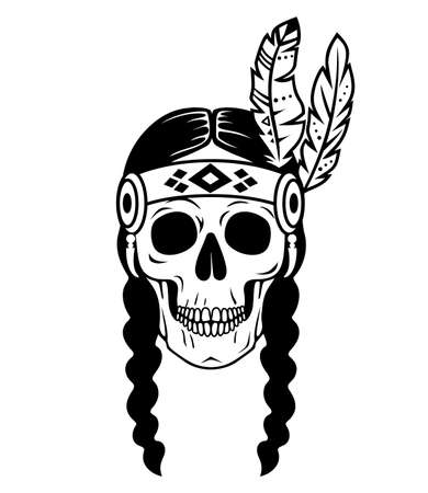 Tribal female skull. Native American silhouette. Vector Indian design