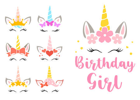 Birthday girl set with unicorn faces. Cute girly designs. Vector. Funny baby print.
