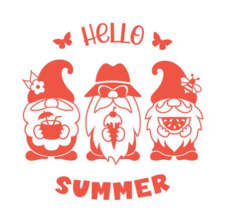 Summer gnome vector silhouette. Hello summer design. Ilustrace